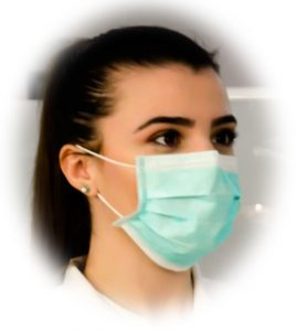 person wearing 3 ply surgical mask to prevent coronavirus