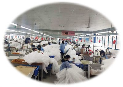 Assembly line of PPE materials