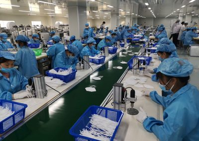 Employees producing PPE products