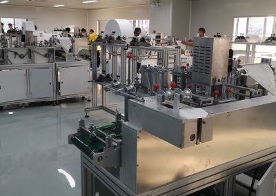 Machines processing latex gloves