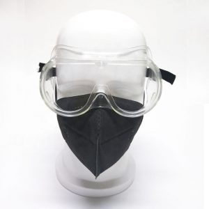 Combination of disposable face mask and safety goggles